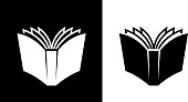 Open Book.This royalty free vector illustration features the main icon on both white and black backgrounds. The image is black and white and had the background rendered with the main icon. The illustration is simple yet very conceptual.