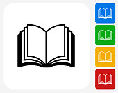 Open Book.The icon is black and is placed on a square vector button. The button is flat white color and the background is light. The composition is simple and elegant. The vector icon is the most prominent part if this illustration. There are four alternate button variations on the right side of the image. The alternate colors are red, yellow, green and blue.