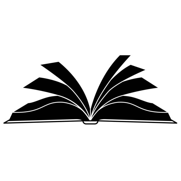 Open book vector silhouette, icon, logo, symbol, sign. Black and white illustration. Open book vector logo, icon. Learning, studies, bookstore, library, school symbol, sign. Book black silhouette isolated on white. Vector illustration. book silhouettes stock illustrations