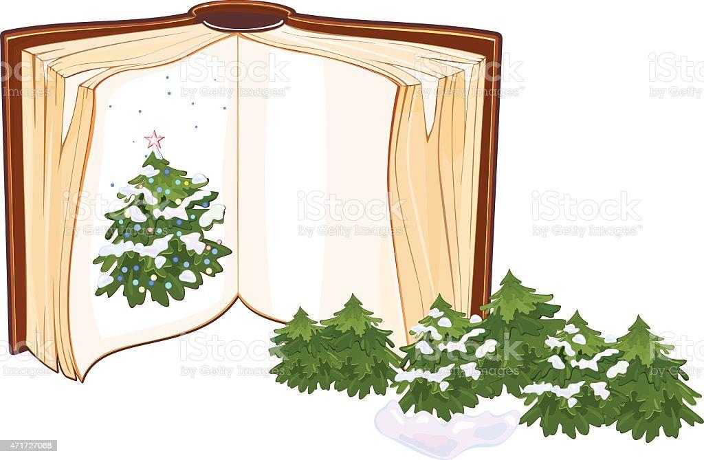 Offene Buch mit einem Christmas tree – Vektorgrafik