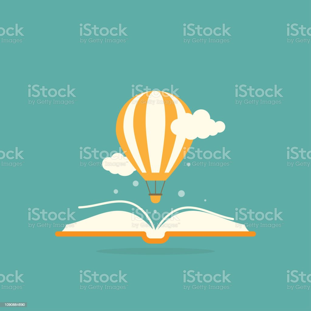 Open book with air balloon and clouds - Grafika wektorowa royalty-free (Bajka)
