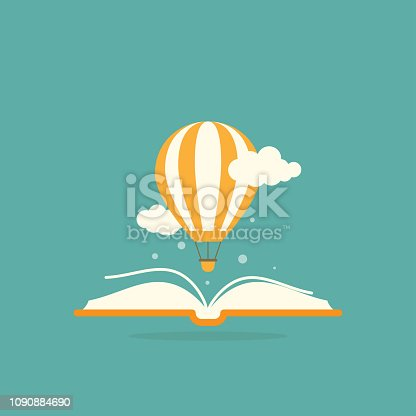 Open book with air balloon and clouds. isolated on turquoise background. Vector flat illustration. Magic fairytale reading logo. Imagination and inspiration picture. Fantasy. Creative kids
