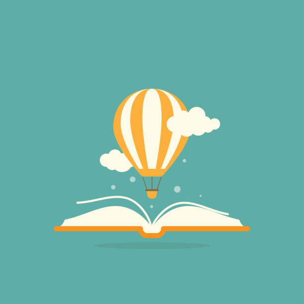 illustrazioni stock, clip art, cartoni animati e icone di tendenza di open book with air balloon and clouds - book