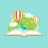 Open book with air balloons, clouds, rainbow and stars