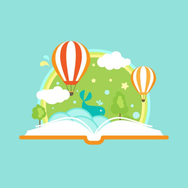 illustrazioni stock, clip art, cartoni animati e icone di tendenza di open book with air balloons, clouds, rainbow and stars - personaggio fantastico