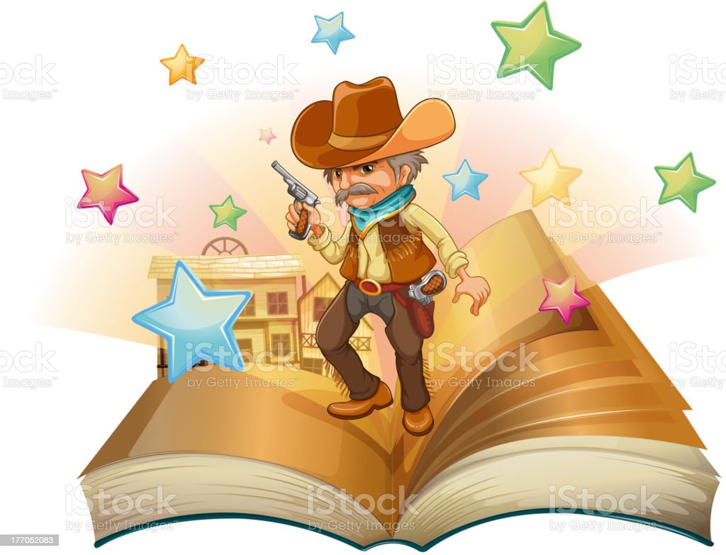 Open book with an armed cowboy royalty-free stock vector art