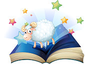 open book with an image of a sheep
