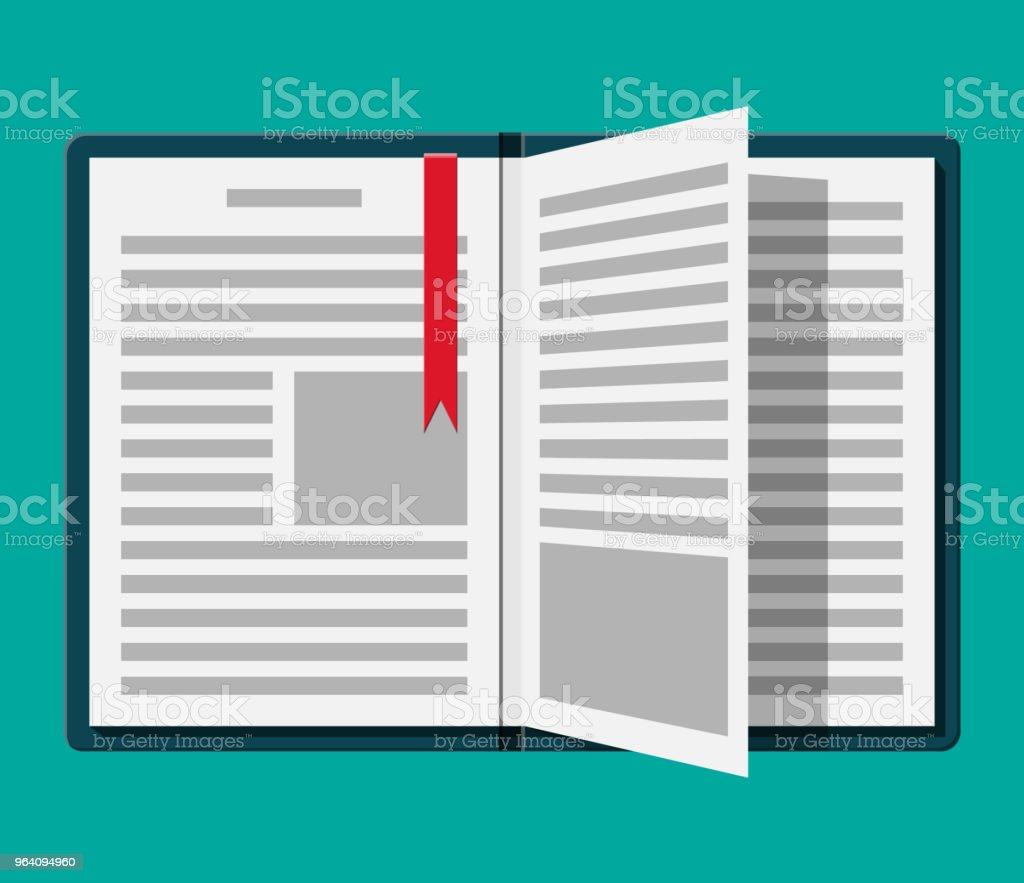 Open book with an upside down page and bookmark. - Royalty-free Archival stock vector