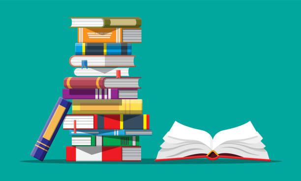 ilustraciones, imágenes clip art, dibujos animados e iconos de stock de libro abierto con un revés de páginas - biblioteca