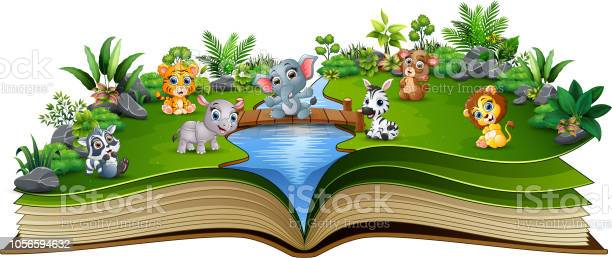 Open book with baby animal cartoon playing in the river vector id1056594632?b=1&k=6&m=1056594632&s=612x612&h=lxk0cfqlocfchocaif4kjxaggxcdv3dmvdbrb elrly=