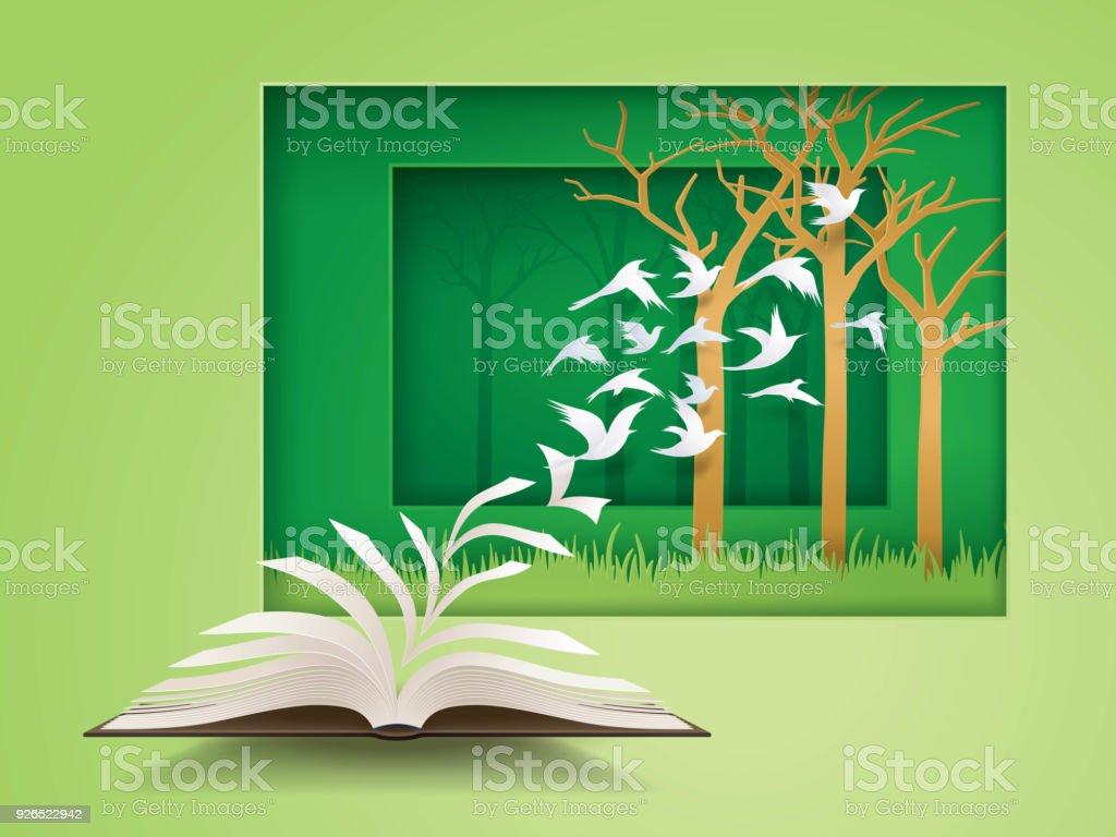 Livre Ouvert Avec Loiseau Qui Vole De Lui Changement De