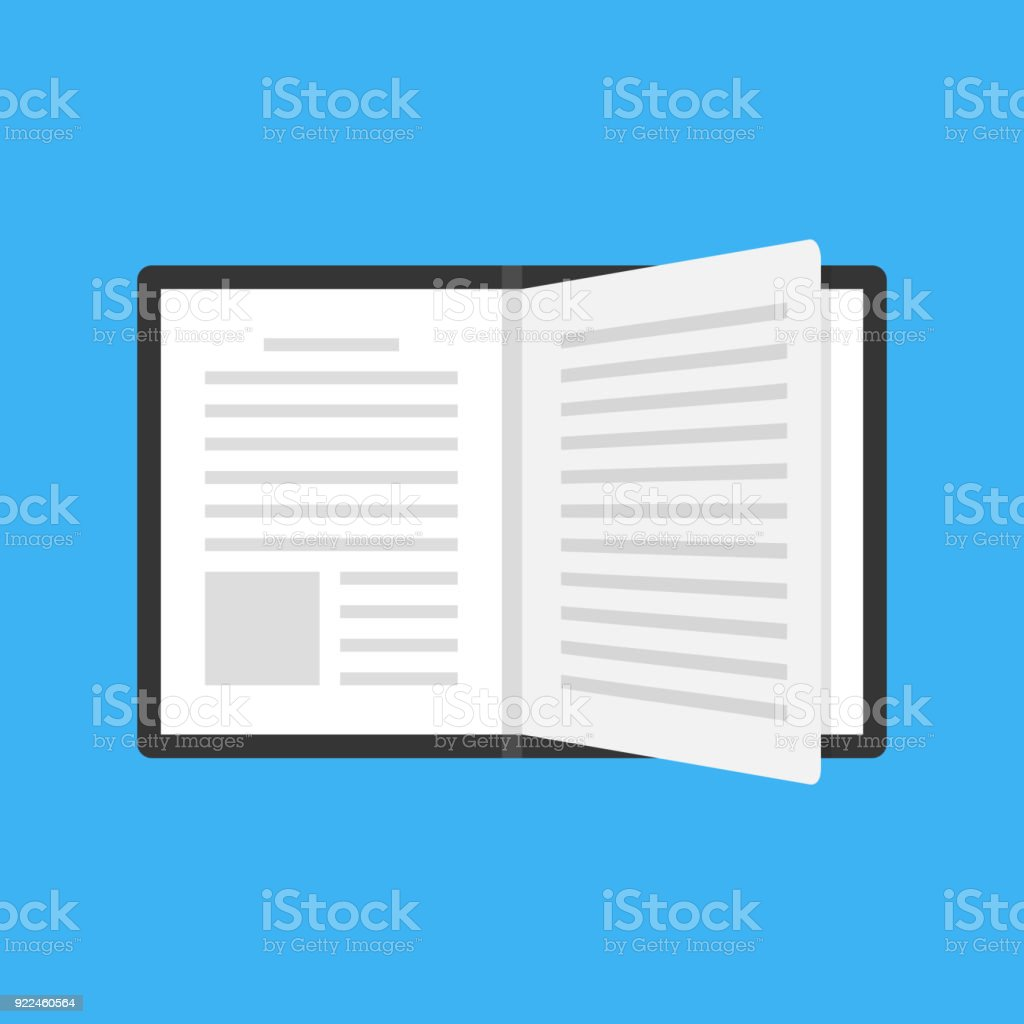 Open book with black cover and turning page. Flat design. Top view. Vector icon vector art illustration