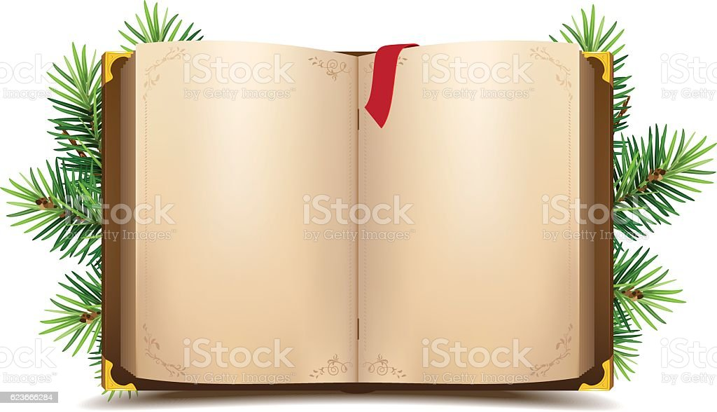 Open book with blank pages and red bookmark – Vektorgrafik