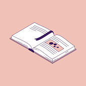 istock Open book with bookmark isometric vector illustration. 1145065432