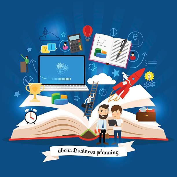 open book with business strategy concept - lesestrategien stock-grafiken, -clipart, -cartoons und -symbole