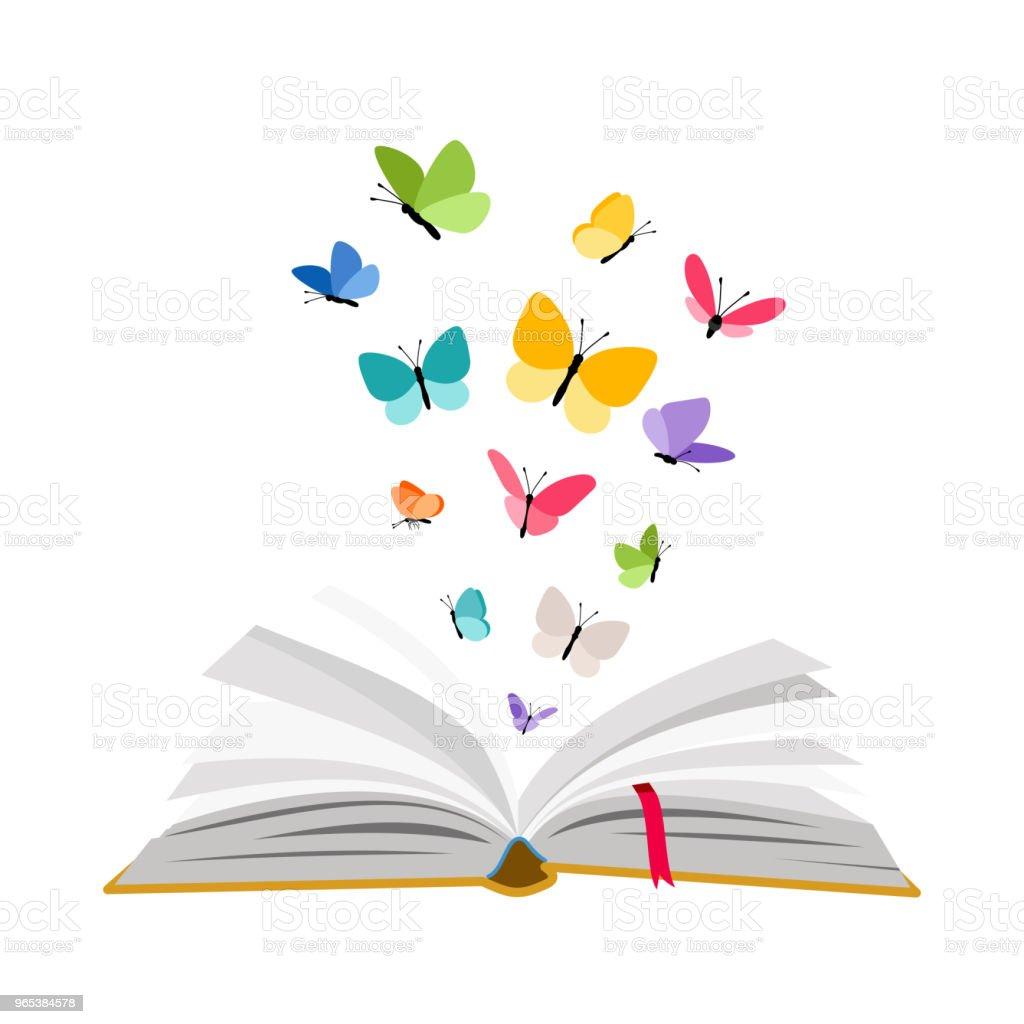 打開書與蝴蝶 - 免版稅一個物體圖庫向量圖形