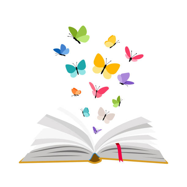 Open book with butterflies Open book with butterflies. Vector butterfly set flying over textbook pages isolated on white background book silhouettes stock illustrations