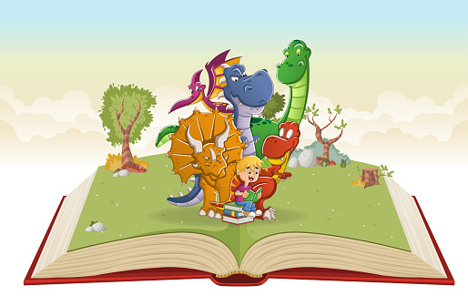 Open book with cartoon boy reading a book to big dinosaurs