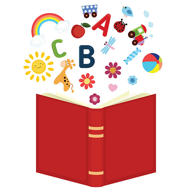 offenes buch mit kinder-icons - geistergeschichten stock-grafiken, -clipart, -cartoons und -symbole