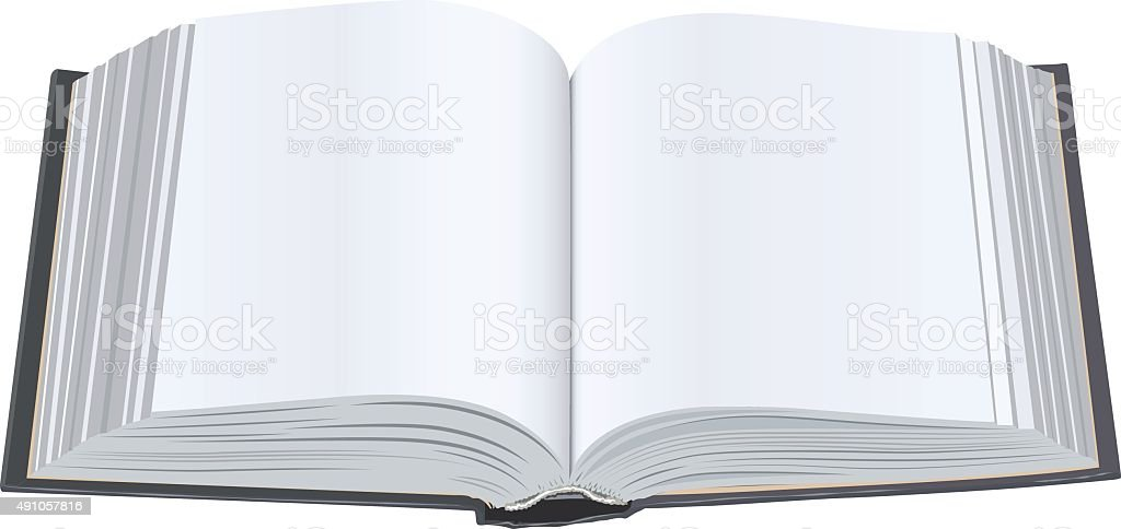 Open book with clean sheets. Open book with blank pages vector art illustration