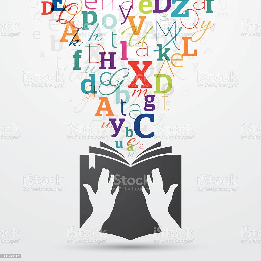 Open book with colourful letters coming out vector art illustration
