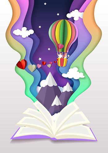 Open book with couple in love flying in hot air balloon. Vector illustration in paper cut craft style. Romantic stories.