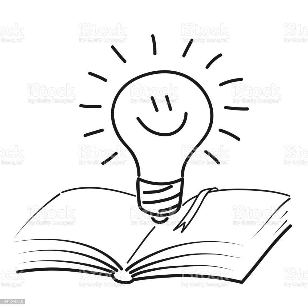 Open Book With Cute Smiling Lamp Power Of Knowledge Pictogram Of