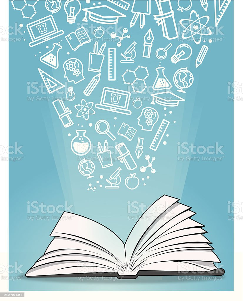 Open book with education icons royalty-free stock vector art