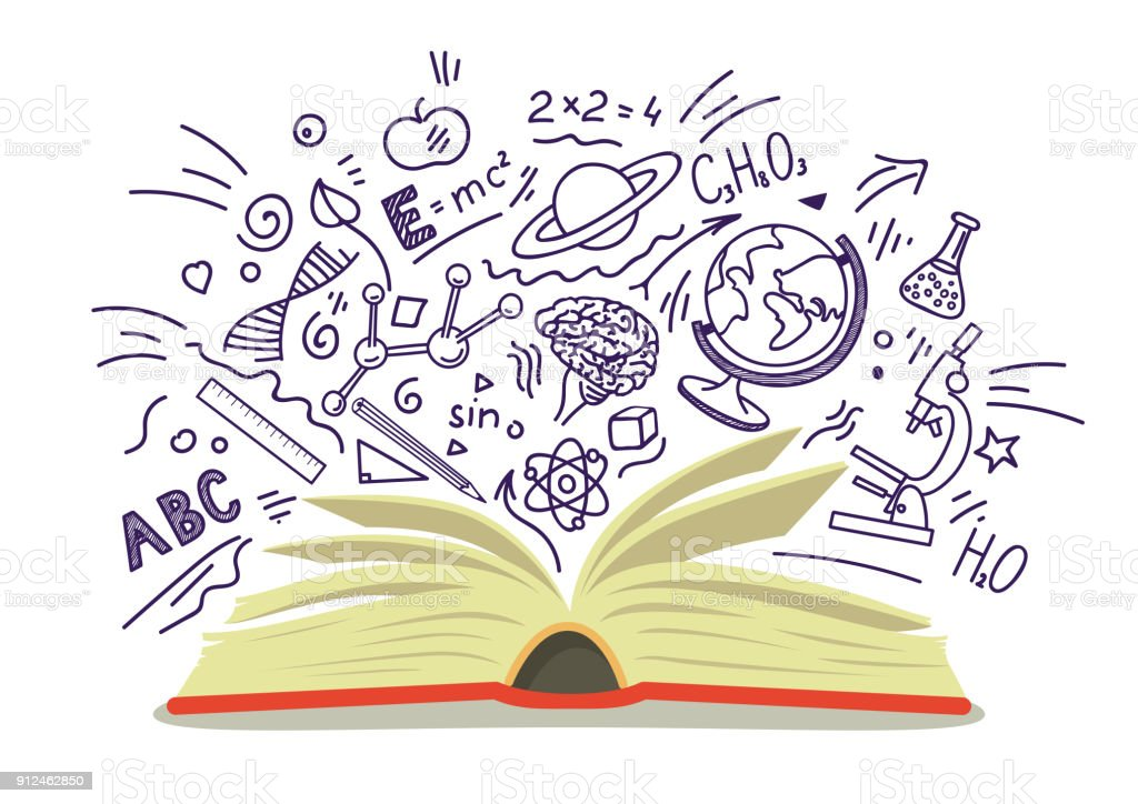 Open book with education sketches vector art illustration
