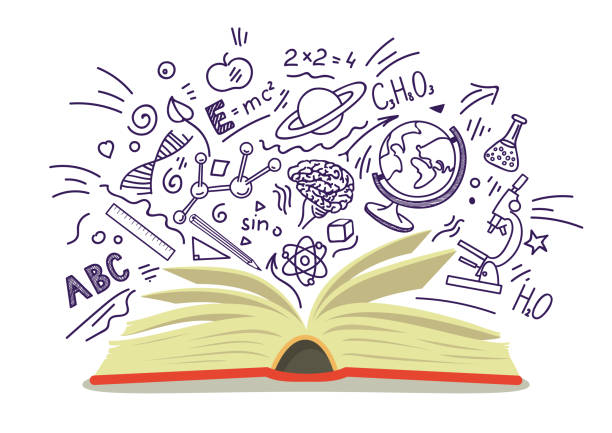 stockillustraties, clipart, cartoons en iconen met open boek met onderwijs schetsen - physics