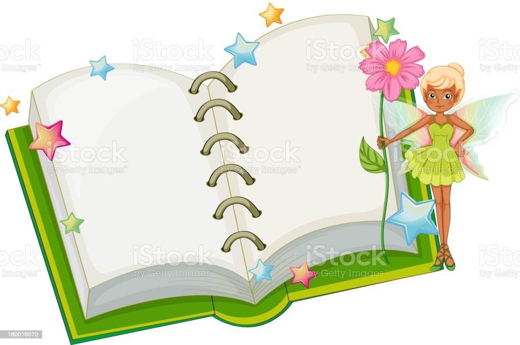 Open book with fairy holding a pink flower royalty-free stock vector art