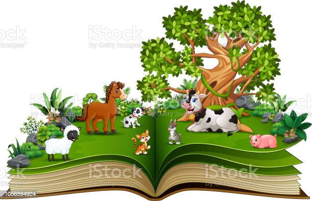 Open book with farm animal cartoon playing in the park under a big vector id1056594924?b=1&k=6&m=1056594924&s=612x612&h=9 vmb0slsfqu7pv8kwfp bb9 pt09iy3konacjleyoc=