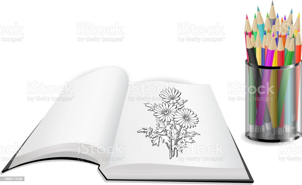 Ilustración de Libro Abierto Con Flores Y Lápices De Colores y más ...