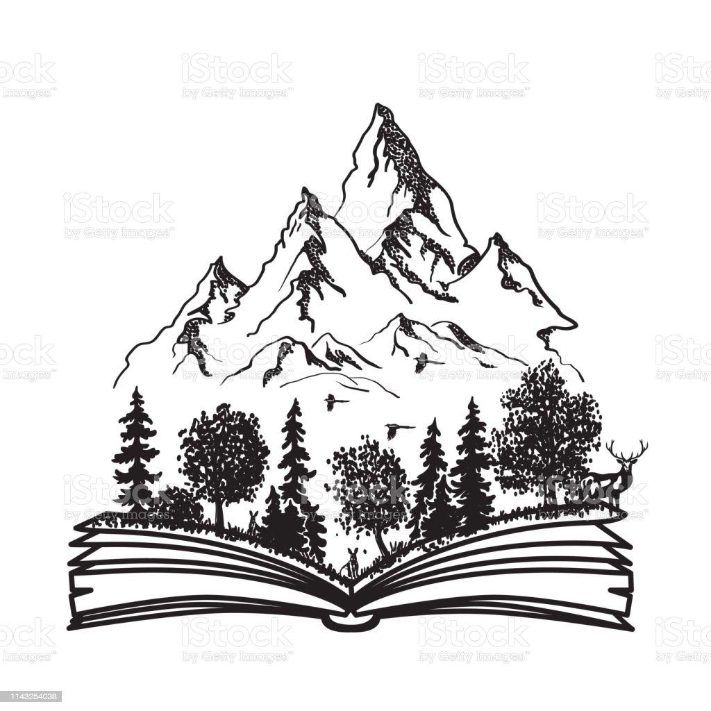 Offenes Buch Mit Wald Und Bergen Handgezeichnete Vektorabbildung