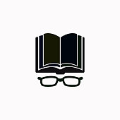 Open book with glasses vector  icon.