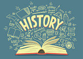 istock Open book with history doodles and lettering 1092170968