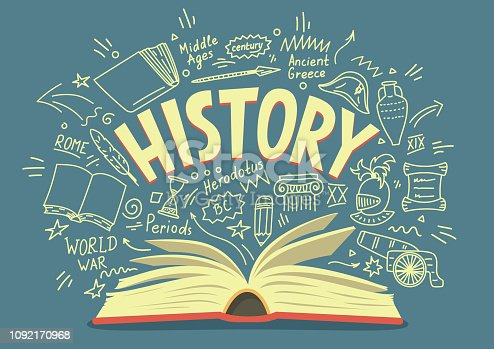 Open book with history doodles and lettering. Education vector illustration.