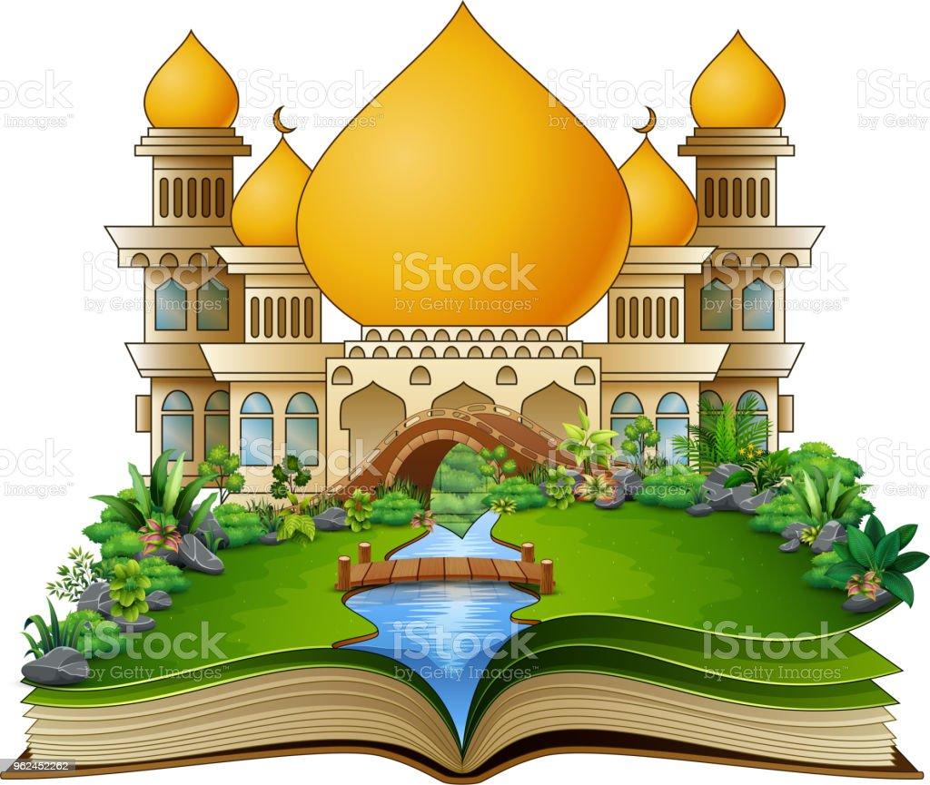 Offenes Buch Mit Islamischen Moschee Im Park Stock Vektor Art Und
