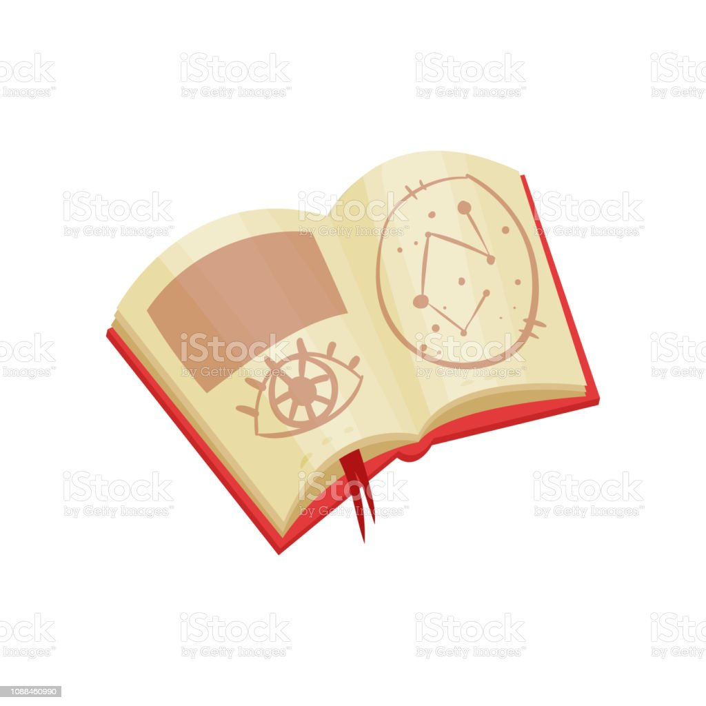 Open Book With Magic Spells And Mystical Symbols Divination Theme