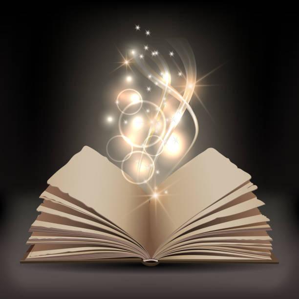 offenes buch mit mystischen helles licht - buchstabenschreibweise stock-grafiken, -clipart, -cartoons und -symbole