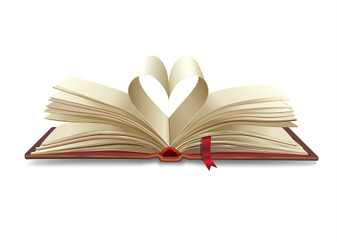 Open book with pages heart shape vector illustration