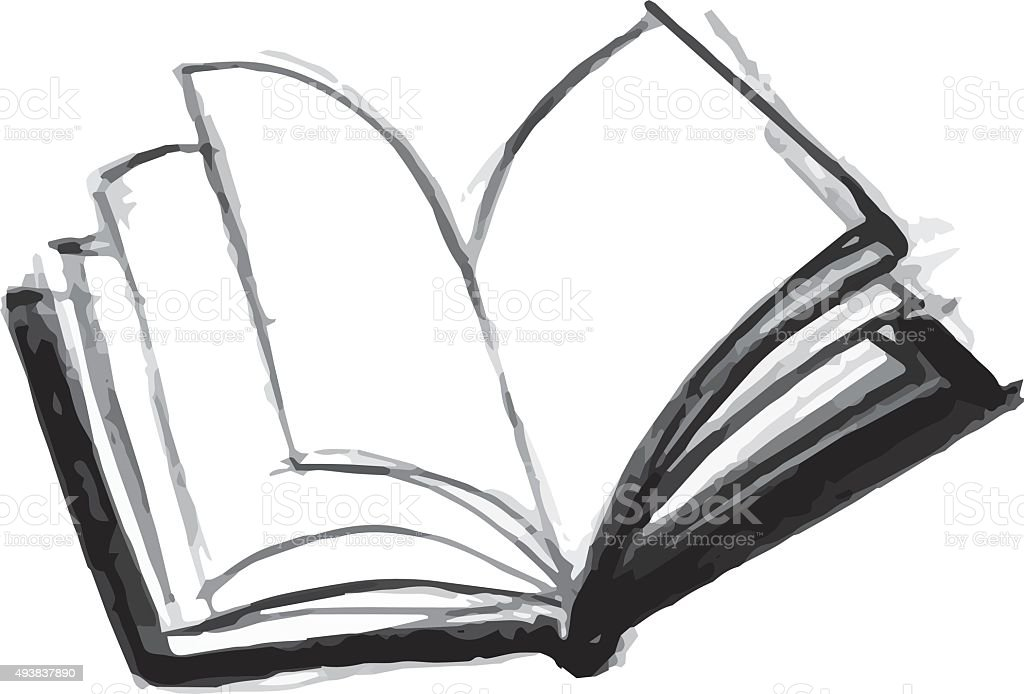 Hardcover Drawing Book : Open book with pages stock vector art more images of