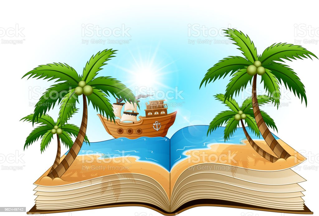 open book with pirate ship on the beach stock vector art more