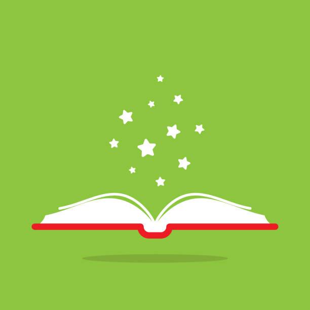 ilustrações, clipart, desenhos animados e ícones de abra o livro com tampa de livro vermelha e as estrelas brancas que voam para fora. isolado no fundo verde. - aberto