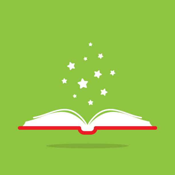Open book with red book cover and white stars flying out. Isolated on green background. Open book with red book cover and white stars flying out. Isolated on green background. Flat icon. Vector illustration. Magic reading logo. Fairytale pictogram. Knowledge power sign. fairy tale stock illustrations