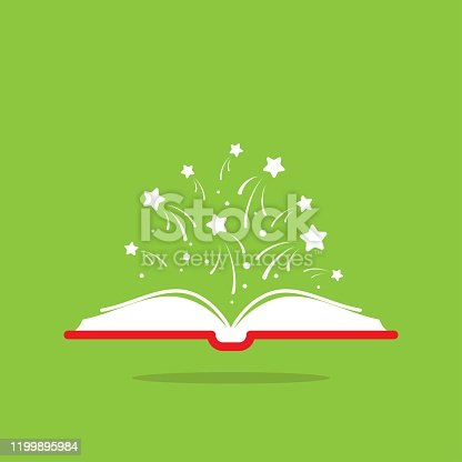 istock Open book with red book cover and white stars flying out. Isolated on green background. 1199895984