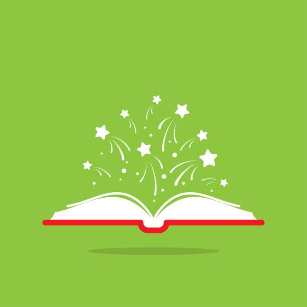 ilustrações, clipart, desenhos animados e ícones de livro aberto com capa de livro vermelho e estrelas brancas voando para fora. isolado no fundo verde. - aberto
