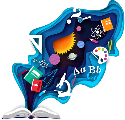 Open book with school supplies, vector paper cut illustration