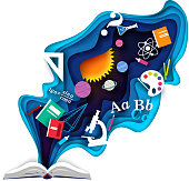 Vector layered paper cut style open book with school supplies flying out of it. Children education, knowledge, back to school concept.