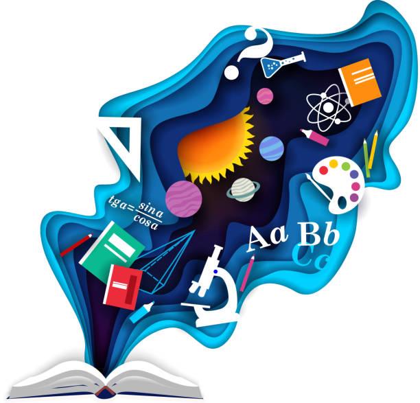 打開書籍與學慣用品,向量剪紙插圖 - 圖畫 藝術品 幅插畫檔、美工圖案、卡通及圖標
